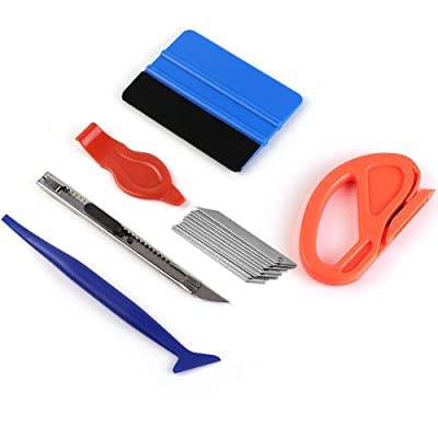 Car Vinyl Wrap Tool kit Including Felt Squeegee, Edge trimmer, MIni Soft Corner Squeegee, Retractable Kinfe and 10pcs Kinfe Blades for Installing Auto wraps and Car Stickers (kit1)