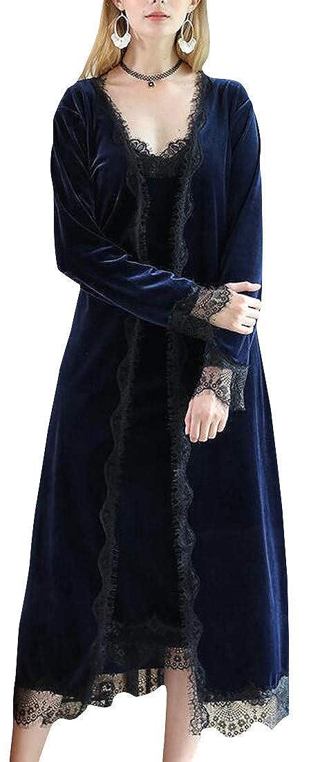 Hajotrawa Women's Velvet Autumn Lace Easy Fit Sleepwear Long Sleeve Robes