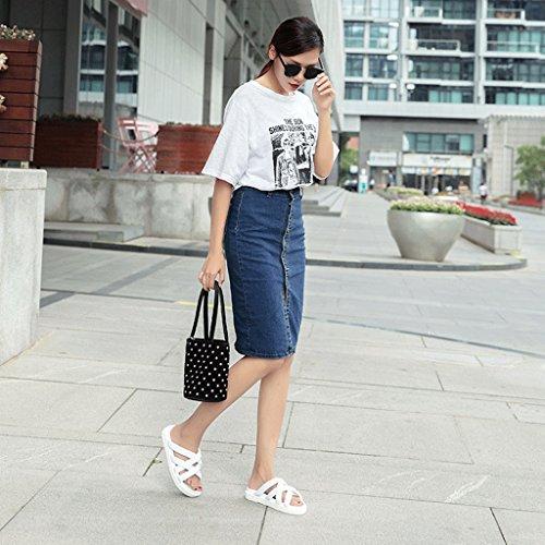 Porter d'été Mode 0 Sport 6 Chaussons Taille Femme de Black Couleur des Blanc Chaussures Pantoufles de Sandales wIqfAznRX