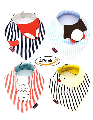 BUYBUYGO Baby Bandana Bibs Set, Cute Animals 4 Pack Extra Absorbent Cotton Drool Bibs for Boys & Girls Drooling and Teething, Adjustable Snaps, Best Newborn Baby Gift for Moms