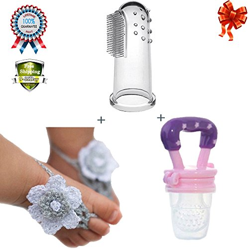Baby Training Fingerbrush Toothbrush Toddler Silicone Teether Massage Weaning Tool Feeding Fresh Safety Food Feeder Nibbler Pure Handmade Knit Flowers Barefoot Sandals Toddler Feet Decoration