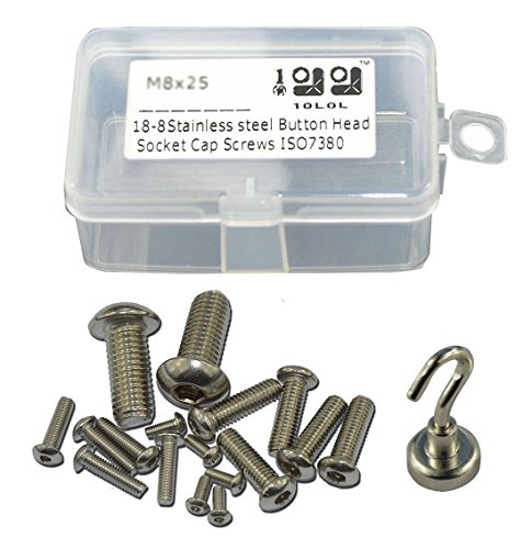10l0l 18-8 Stainless Steel Iso7380 Allen Bolt Button Head Socket Cap Screws M8x25 Kit (20)