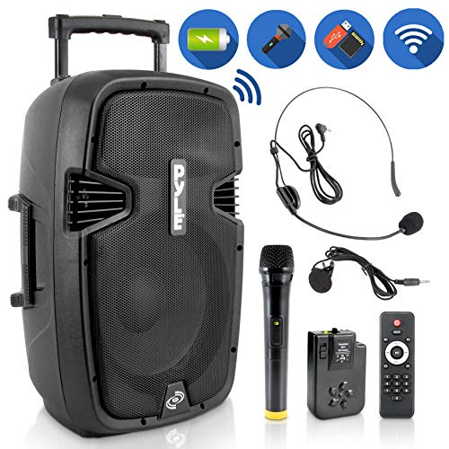 Wireless Portable PA Speaker System - Compatible with Bluetooth, Active Loudspeaker, 1000 Watt Powered 2-Way Waterproof Amplifier, 12