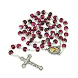 Hand Painted Ruby Glass Necklace Rosary, Sacred Heart Center, Silver Plate Chain, Crucifix,Marina Jewelry