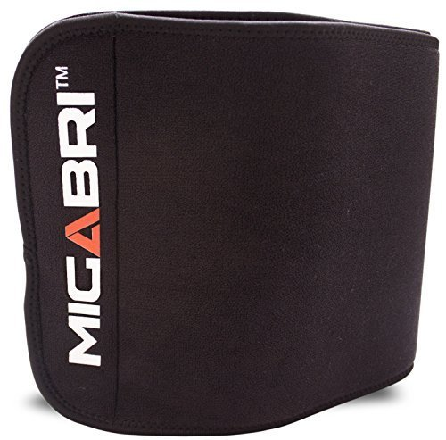 MIGABRI Waist Trimmer XT10 - Adjustable Slimming Belt Accelerates Weight Loss and Toning Abs with Lower Back & Lumbar Support for Men & Women - Includes Microfiber Mini Sweat Towel & Trimming Guide