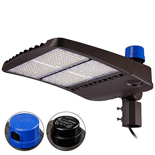 LEONLITE 300W Ultra Bright LED Parking Lot Light with Photocell, 39,000lm IP65 Waterproof Slipfitter Shoebox Lighting, Dusk-to-Dawn, UL & DLC Listed, for Expressway, Street, Stadium, 5 Years Warranty