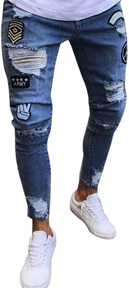 Kalanman Mens Casual Ripped Slim Fit Straight Fit Washed Denim Jeans