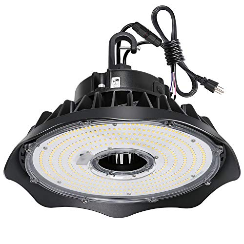 Hykolity 150W UFO LED High Bay Light Fixture, 19500lm 1-10V Dimmable 5000K 5' Cable with US Plug DLC Complied [250W/400W MH/HPS Equiv.] Commercial Warehouse/Workshop/Wet Location Area Light (Us-shop)