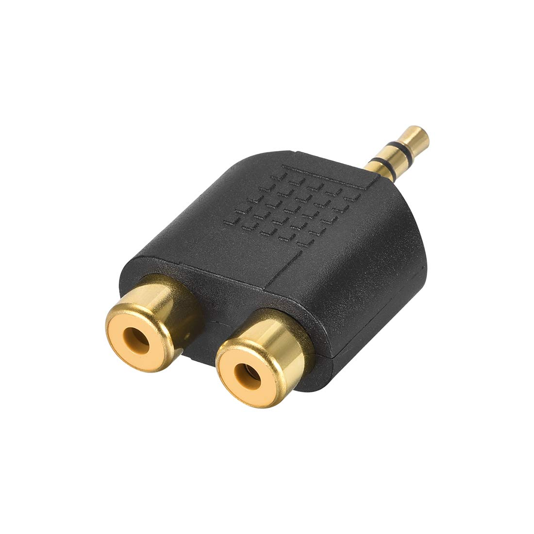 uxcell 3.5mm Male to 2 RCA Female Connector Splitter Adapter Coupler Black for Stereo Audio Video AV TV Cable Convert 1pcs