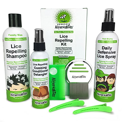 Natural Lice Treatment Kit by AlternaKids - Remove, Kill, Prevent Super Lice and Nits | Includes Shampoo, Detangler Conditioner, Home & Bedding Spray, Metal and Plastic Comb Set