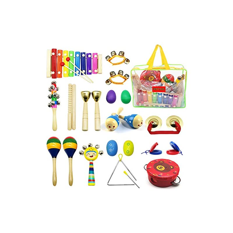 Kids Musical Instruments, PETUOL 24pcs Wood Percussion Instruments Toys Set for Children Musical Movement-Music Rhythm Percussion Kit for Toddle Boy and Girls with Portable Clear Handbag Xylophone