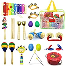 PETUOL Kids Musical Instruments 24pcs Wood Percussion Instruments Toys Set for Children Musical Movement-Music Rhythm Percussion Kit for Toddle Boy and Girls with Portable Clear Handbag Xylophone