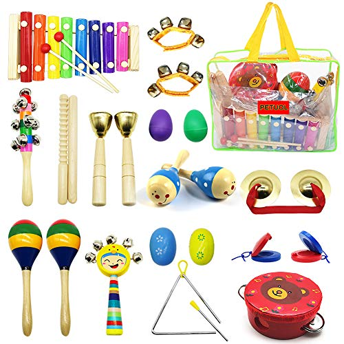PETUOL Kids Musical Instruments 24pcs Wood Percussion Xylophone Toys for Children Musical Movement-Music Rhythm Percussion Kit for Toddler Boy and Girls (Best Musical Instruments For Kids)