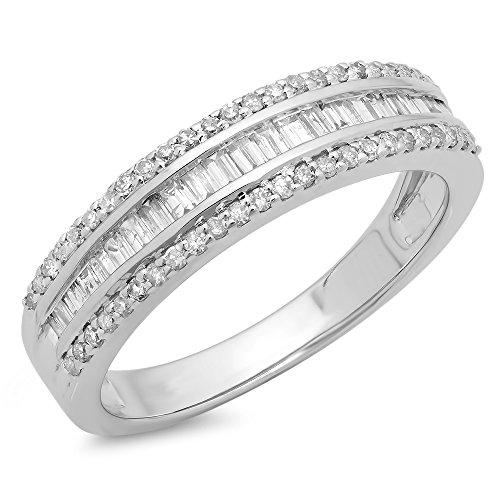 - Dazzlingrock Collection 0.60 Carat (ctw) 14K Round & Baguette Diamond Ladies Bridal Anniversary Band Ring, White Gold, Size 6.5