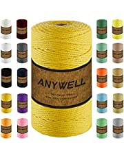 ANYWELL Macrame Cord 3mm x (327-545yards, Macrame Rope, Cotton Cord, Corde Macramé, Not Dyed, Natural Color Handmade Soft 4-Strand Twisted Cotton Rope for Macrame, Wall Hanging, Plant Hanger, DIY Craft Making, Knitting, Decorative Projects