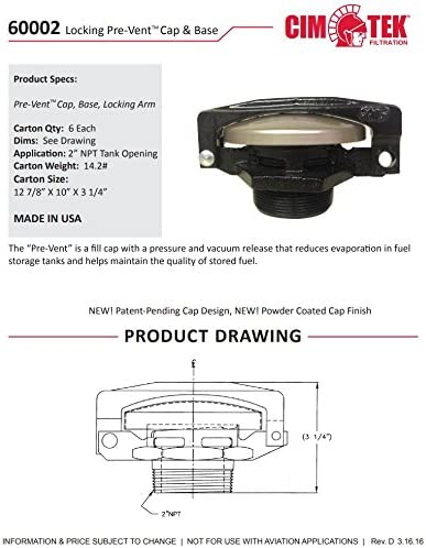 Cim-Tek 60002-6 Pre-Vent Cap /& Base w//Lock Arm; 6 Pack