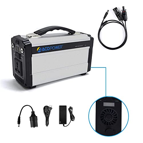 ACOPOWER Portable Solar Generator for Camping 60,000mAh Lithium Ion Battery DC Inverter Power Bank USB 5V DC 12V 110V Input AC, Car Solar Panel