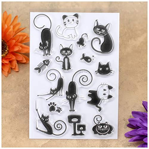 Kwan Crafts Cats Mouse Fish Claw Clear Stamps for Card Making Decoration and DIY Scrapbooking