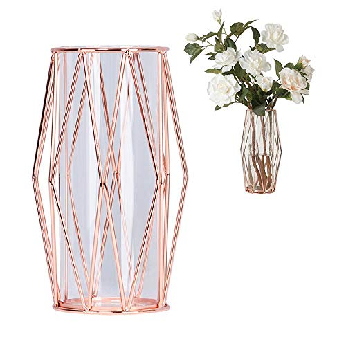 Perfuw Glass Flower Vase with Geometric Metal Rack Stand, Crystal Clear Terrariums Planter Bud Glass Vases for Flowers Hydroponics Plant, Centerpiece for Home Office Wedding - Rose Gold