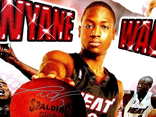 Dwyane Wade Autographed Signed & Framed 27X34 Heat Canvas Picture/Picture -PSA -