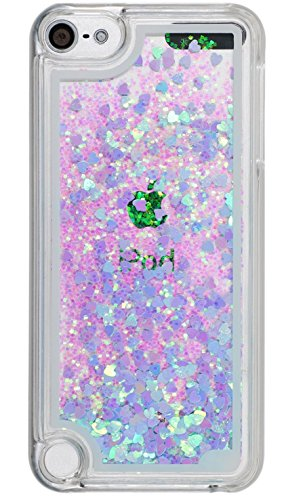 Ipod 6th 5th Generation Case Liquid Quicksand Bling Love Heart Design, Touch 5 6 Case Waterfall Floating ,Adorable Floating Moving Shine Glitter Quicksand Hard Case for Touch5 and Touch 6 Bling Blue (Silver Ipod Touch 4th Generation)