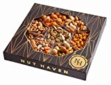 The Nut Haven Gourmet Party Mix Nut Gift Basket/Box ~ variety of freshly roasted 7 section nut tray ~ Great for: Corporate, Holiday, Birthday, Get well, Thank you, Men & Women, snack ~ Prime