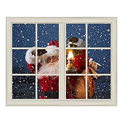 Removable Wall Sticker/Wall Mural - Santa Claus Carrying Gifts Outside of Window on Christmas Eve - Creative Window View Home Decor/Wall Decor - 24