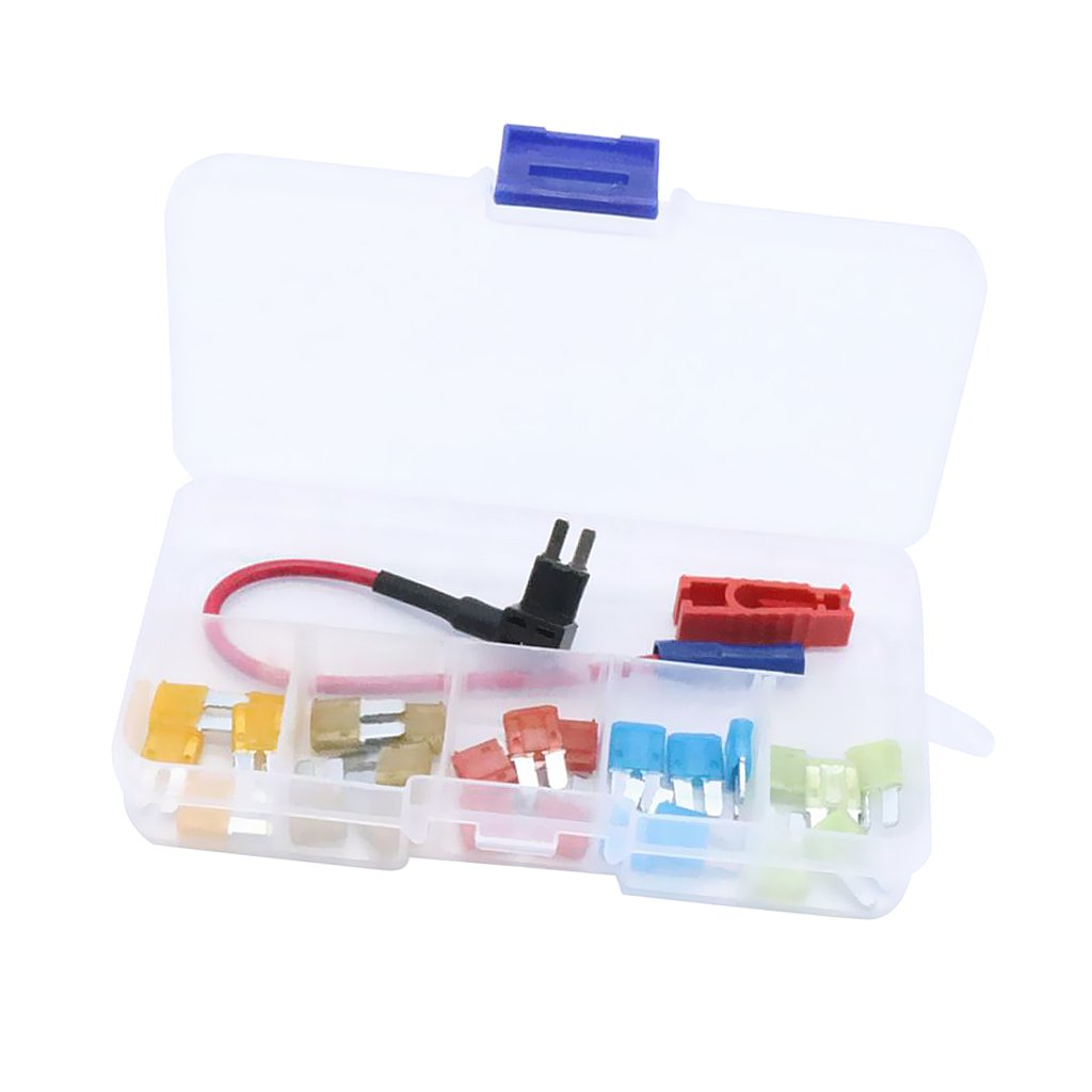 MonkeyJack 25 Pieces Micro2 Fuse 5Amp 7.5Amp 10Amp 15Amp 20Amp+Add-a-circuit Fuse Tap Holder