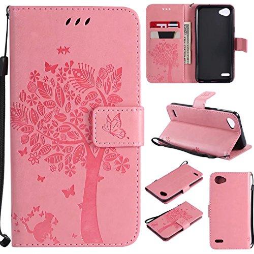 LG Q6/LG G6Mini Móvil, cowx funda de piel sintética para LG Q6/LG G6Mini Funda gato algodón color rosa