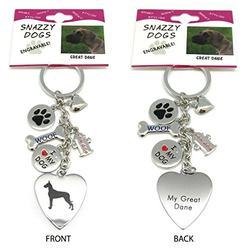 (Great Dane Keychain for Women, Girls, Boys, Men - Engraved Stainless Steel Dog Key Ring with Charms – Cute I Love My Dog Key Fob Gift - Cute Pet Accessories by Frogsac USA)