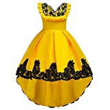 IWEMEK Kids Applique Dresses Big Girls Princess Dress Floral Decor High Low Hem Tulle Lace Sleeveless Bridesmaid Wedding Communion Birthday Party Prom Ball Gown Yellow 3-4 Years