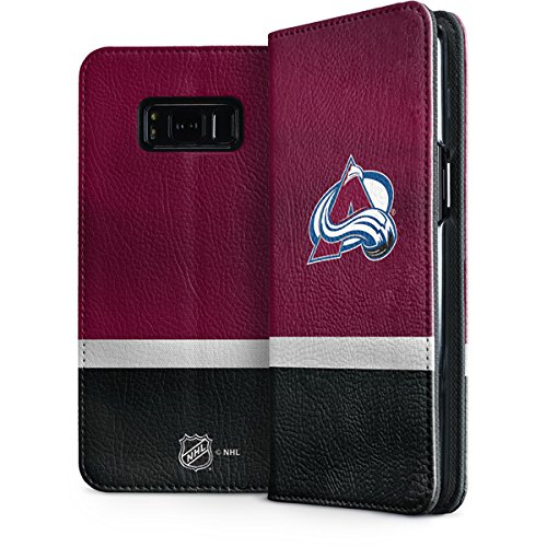 Skinit Colorado Avalanche Jersey Galaxy S8 Folio Case - Officially Licensed NHL Phone Case Folio - Faux-Leather Wallet Galaxy S8 Cover ()