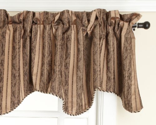 Face Scalloped (Style Master Renaissance Home Fashion Cooper Lined Scalloped Valance with Cording, Gold, 50 by 17-Inch)