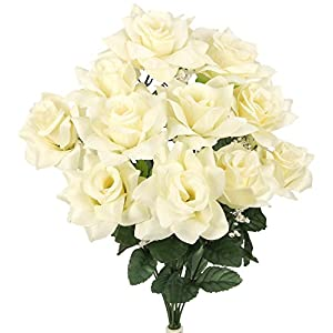 Admired By Nature 12 Stems Artificial Blooming Veined Satin Rose Flowers Bush for Home 2