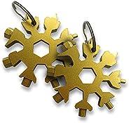 Mobi Lock Snowflake Multi Tool (Pack of 2) - 18-in-1 Portable Stainless Steel Multitool Keychain - Flat &