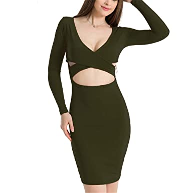 Amazon.com: Red Black White Long Sleeve Elastic Cotton Warm Party Dresses Vestidos Sexy Midi Pencil Club Bodycon Bandage Dress: Clothing