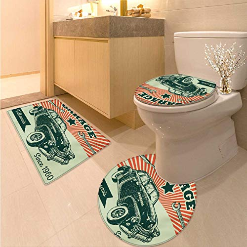 Anhuthree Cars bathmat Toilet mat Set Retro Car and Garage Advertising Poster Style Picture with Grunge Effects 1960s 3 Piece Toilet Cover Set Emerald Orange