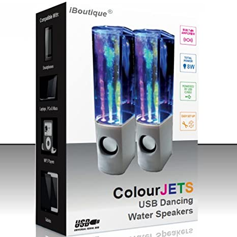 Vivid Pink iBoutique ColourJets USB Dancing Water Speaker for PC//Mac//MP3 Player//Mobile Phone//Tablet