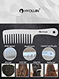 HYOUJIN Wide Tooth Comb Detangling Hair Brush,Paddle Hair Comb,Care Handgrip Comb-Best Styling Comb for Long,Wet or Curly Reduce Hair Loss and Dandruff&Headache-Minimal breakages