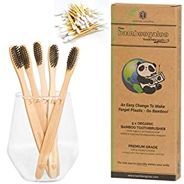 BAMBOOGALOO Premium Bamboo Toothbrushes – 5 Pack with Bamboo Cotton Buds & Dental Floss Gift. Organic Natural Wooden Toothbrush – Soft Charcoal Bristles. Eco-Friendly Plastic-Free Packaging, UK Design