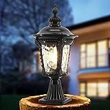 Modeen Continental Lantern Waterproof Patio Glas Column Lamp Outdoor Table Lamp Vintage Tradition Victoria Villa Garden Post Lawn Lamp Aluminum Street Light E27 Decoration Illumination