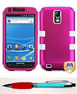 Accessory Factory(TM) Bundle (Phone Case, 2in1 Stylus Point Pen) SAMSUNG T989 (Galaxy S II) Titanium Solid Hot Pink White TUFF Hybrid Phone Protector Cover