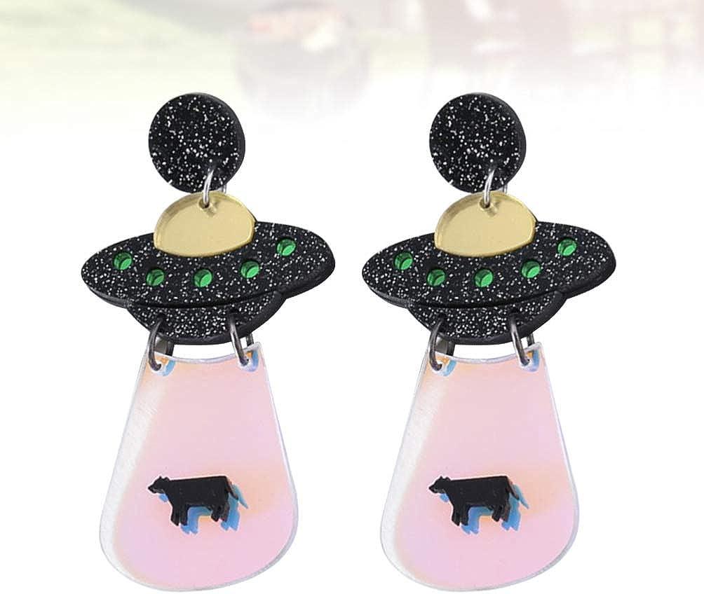 FENICAL ovni boucles doreilles extraterrestres vaisseau spatial goutte goutte oreille stud bijoux pour femmes filles dames noir