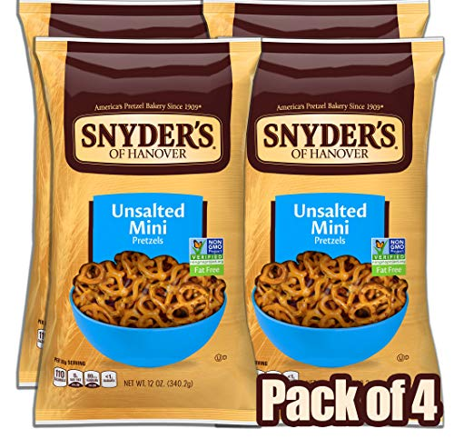 Snyder's of Hanover Unsalted Mini Pretzels, 12 Ounce (Pack of 4) ()