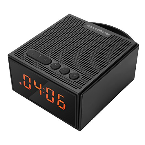 Wireless Bluetooth Speaker AncordWorks with FM Radio With Antenna and Alarm Clock Portable Lightweight Sound System Stylish Durable Waterproof Crystal Clear Audio 8W Black