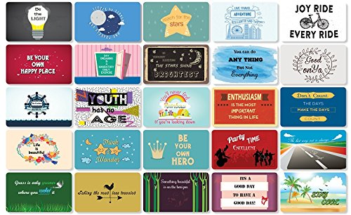 25 Beautiful Designed Full Rich Colored Complimentary Motivational Quote Cards, Thick Stock Paper, Back of Card is Smooth and Matte so you can Write your Personal Message (Lilac Edition)