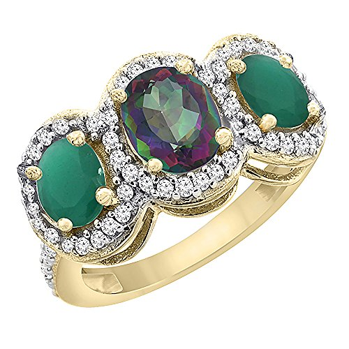Oval 3 Stone Cabochon Ring - 10K Yellow Gold Natural Mystic Topaz & Cabochon Emerald 3-Stone Ring Oval Diamond Accent, size 10