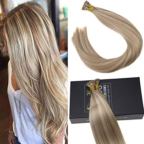 (Sunny 20inch Remy Brazilian Hair Extensions Fusion I Tip Human Hair 1g/Strand Dark Ash Blonde Highlight Bleach Blonde Keratin Stick Tip Human Hair Extensions 50G)