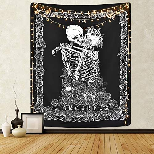 Tapiz de calavera The Kissing Lovers Tapiz Tapiz de Tarot negro Tapiz de esqueleto humano para habitación