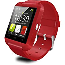 Auphi Bluetooth Touch Screen Smart Wrist Watch Phone for Smartphones Android, Iphone(red)